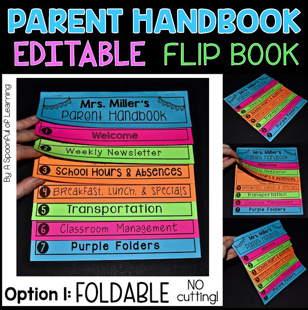 FOLDABLE PARENT HANDBOOK FLIPBOOK - Editable