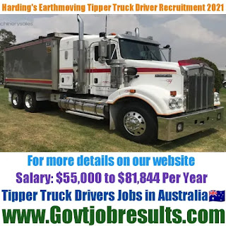 Harding Earthmoving Tipper Truck Driver Recruitment 2021-22
