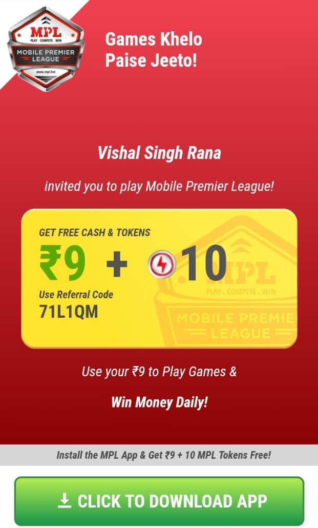 Win Upto 1 Lac Real Money At Home Using Mpl Mobile Premier League