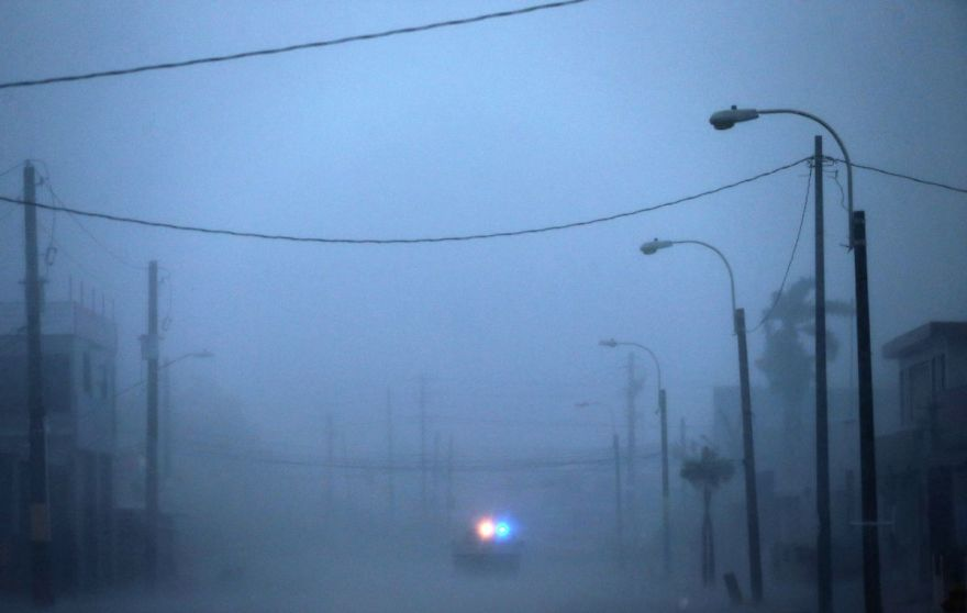 30 Shocking Pictures That Show How Catastrophic Hurricane Irma Is - A Lone Police Car On Patrol During The Passing Of Hurricane Irma On September 6, 2017 In Fajardo, Puerto Rico
