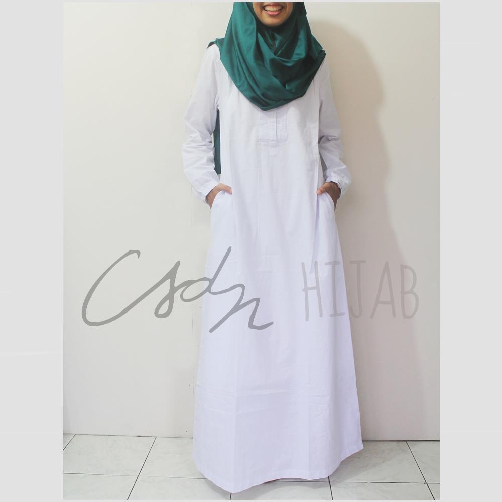 Gamis Umroh Le Couture Putih Polos Bahan Katun Csdn Hijab