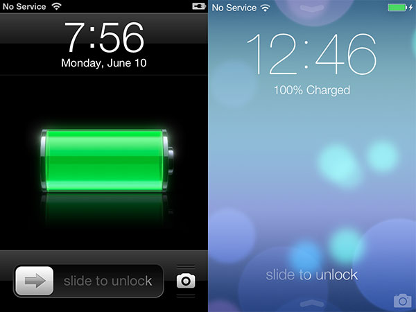 how to unlock iphone screen ios 7 vs ios 6 comparatif du design et des ic 244 nes 5525