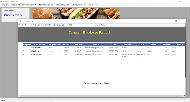 Canteen management system project dashboard image