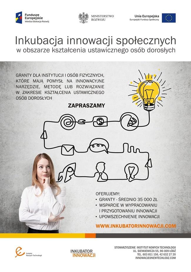 Inkubacja innowacji społecznych w obszarze kształcenia ustawicznego osób dorosłych - plakat reklamowy