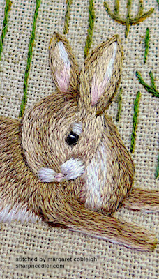 Embroidered hare's eye (detail) complete from Jenny McWhinney's Queen Anne's Lace