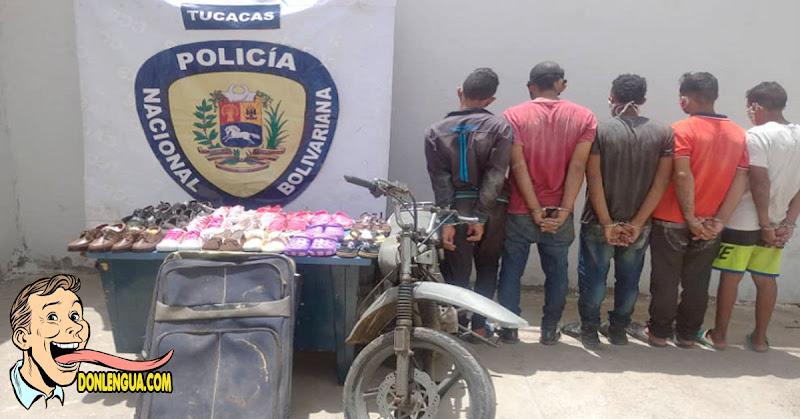 Cinco detenidos por robarse 27 pares de zapatos en Tucacas