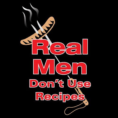 For the man who crafts unique creations at his bbq, a real men don't use recipes apron!