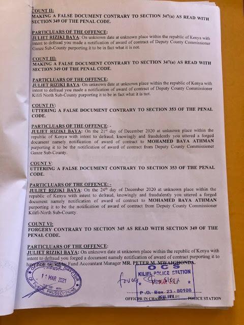 Juliet Riziki Baya documents in court photo over fraud