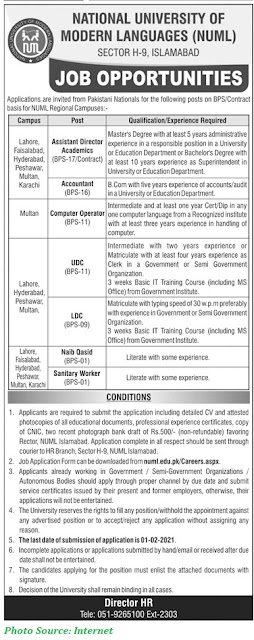 NUML University Jobs 2021 - Latest Jobs in National University of Modern Languages Download Application forms