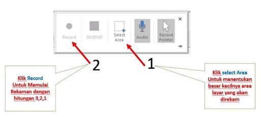 Langkah 3 merekam layar menggunakan power point