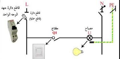 الدائرة الكهربيه للمبة لتمديد لمبة الحمام
