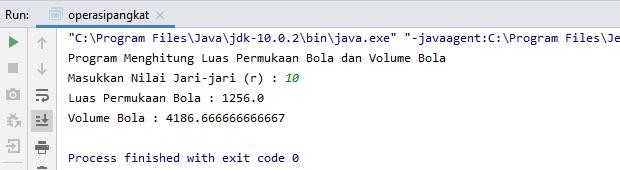 Program Menghitung Operasi Pangkat Java  Pada Luas dan Volume Bola