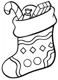 Plain christmas stocking coloring page 3