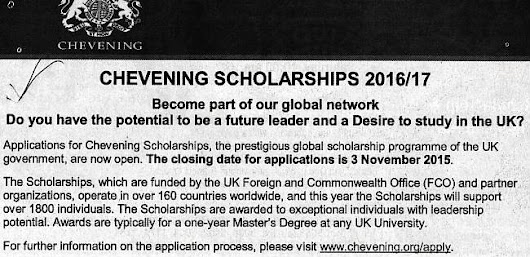 All Scholarships: Scholarship notice, Chevening Scholarships 2016/17.