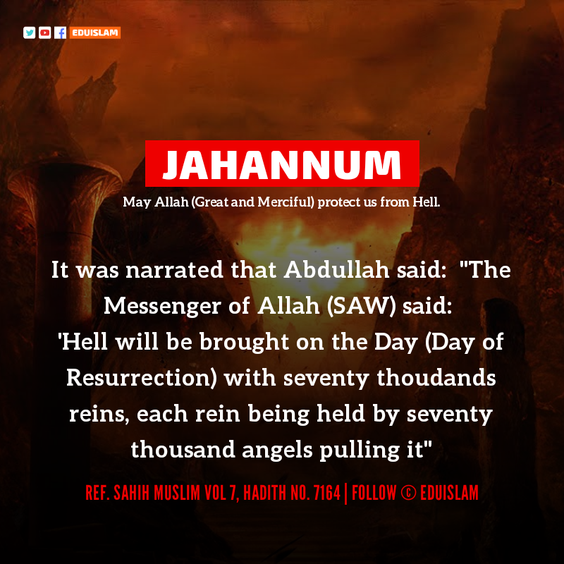 Hadith about Jahannum, Prophet Muhammad about Jahannum, EduIslam, Islamic Image