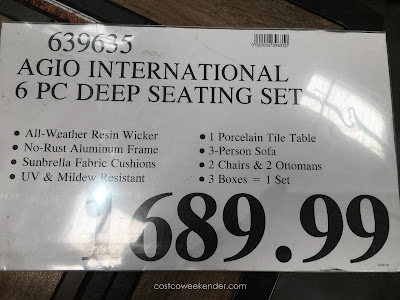Deal for the Agio International 6 Piece Woven Deep Seating Group at Costco