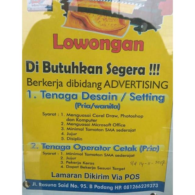 Lowongan Kerja Sumbar (Bidang) Advertising Padang