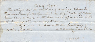 1854 Marriage Intention between Zebulon Rowe of New Gloucester, Maine, and Mrs. Eliza Walker of Poland, Maine