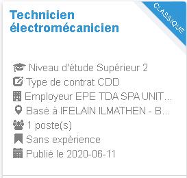 Technicien électromécanicien IFELAIN ILMATHEN - BEJAIA