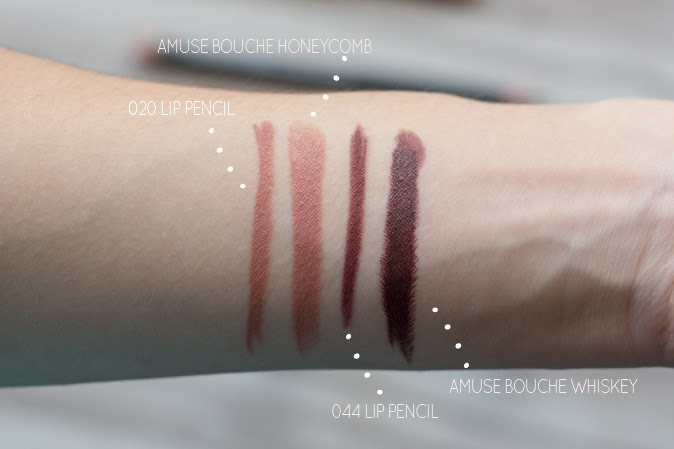 bite beauty lip liner 020 044 and amuse bouche honeycomb whiskey swatches