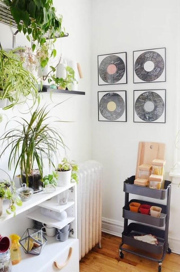 un hogar de alquiler la cocina con colección de vinilos