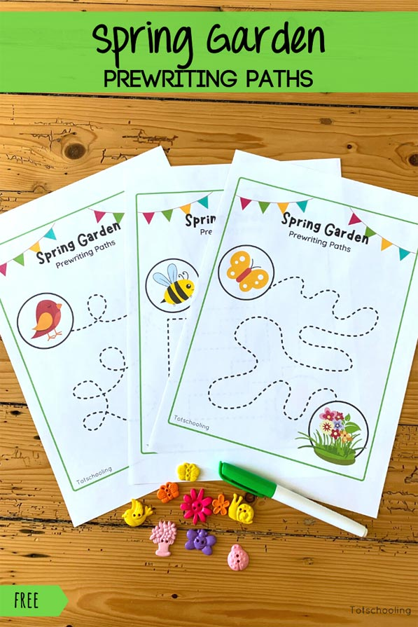 FREE printable Spring themed tracing sheets for toddlers and preschoolers to practice prewriting and fine motor skills.