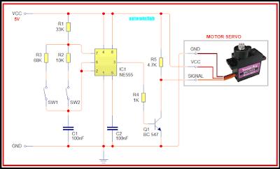 Skema tester penggerak motor servo menggunakan saklar