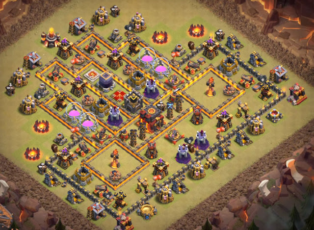 different level 10 base layout for war