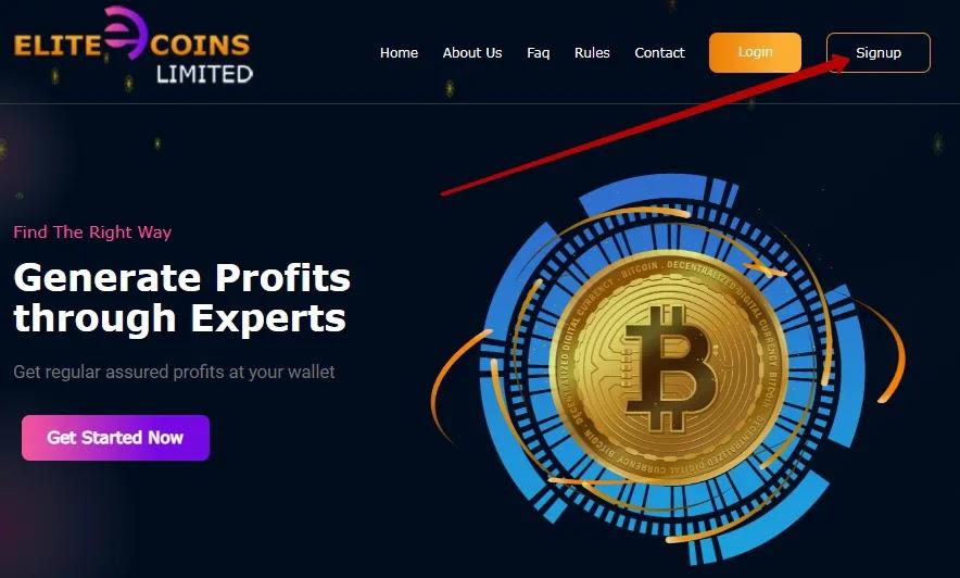Регистрация в Elite Coins Limited