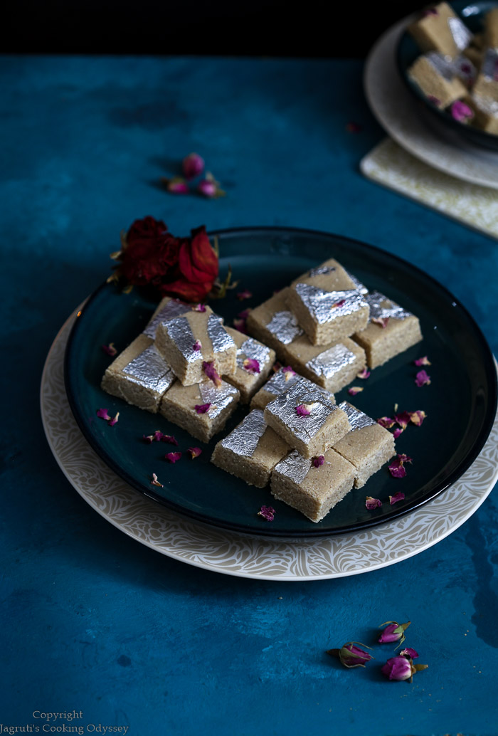Kaju barfi served in a plate for Diwali