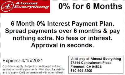 Coupon 6 Month Interest Free Payment Plan March 2021