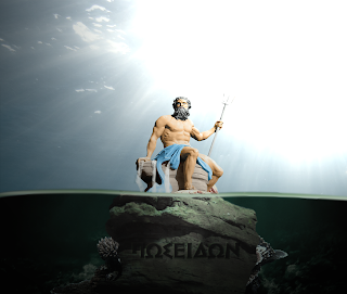 Greek god Poseidon holding trident
