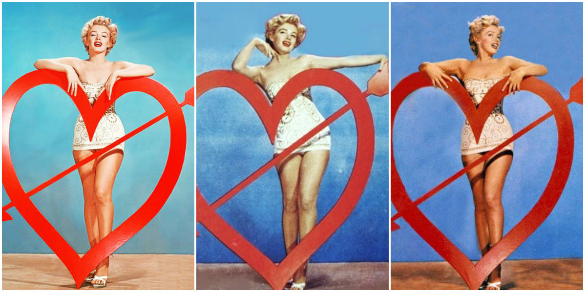 """Marilyn Monroe Posing for Valentine's Day: Beautiful Publicity Photos for """"We're Not Married"""" by Art Adams, 1952"""