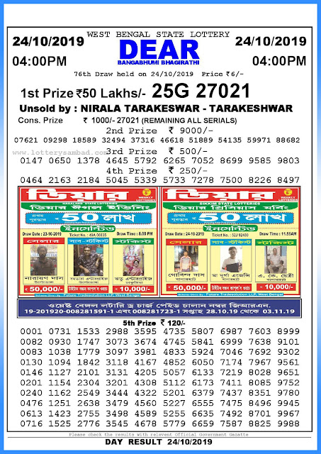 24-10-2019 West Bengal State Lottery Result 04.00 PM-sambadlottery.org