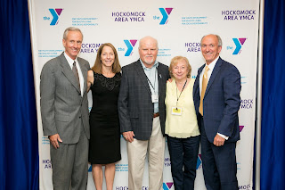 Ed Kelly, President & CEO of Milford Regional Medical Center; Mary Clermont, Chair of the Hockomock Area YMCA Board of Directors;  John White, recipient of the Charlie Shannon Volunteer Award; Therese Shannon, wife of the late Charlie Shannon and program alumna and mentor; and Ed Hurley, President & CEO of the Hockomock Area YMCA