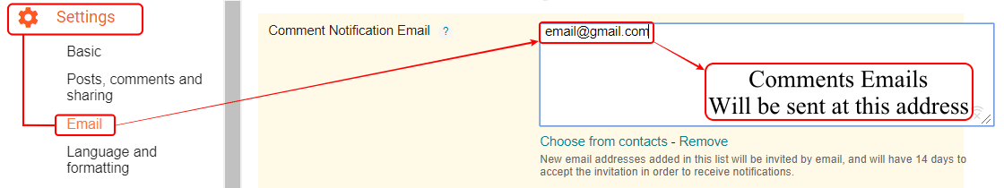 Email Blogger Settings