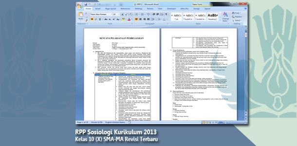RPP Sosiologi Kelas 10 (X) SMA-MA Kurikulum 2013 Revisi Terbaru Tahun 2019-2020