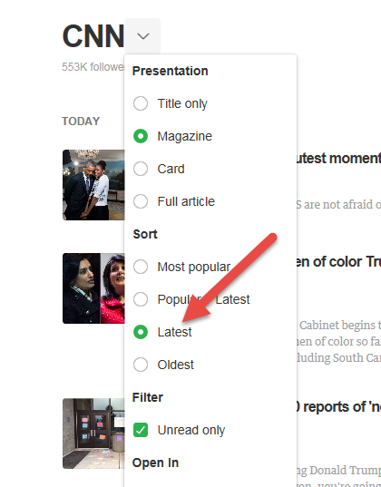 Thanks Feedly, Every news site needs this...