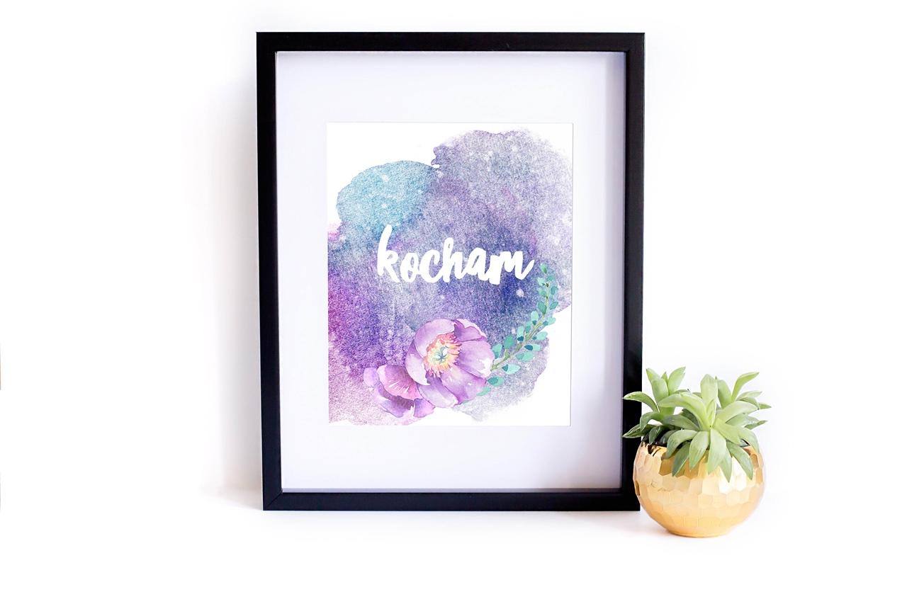 Miłosny plakat do druku do pobrania - My Pink Plum Kocham