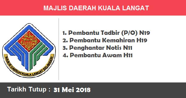 Jobs in Majlis Daerah Kuala Langat (31 Mei 2018)