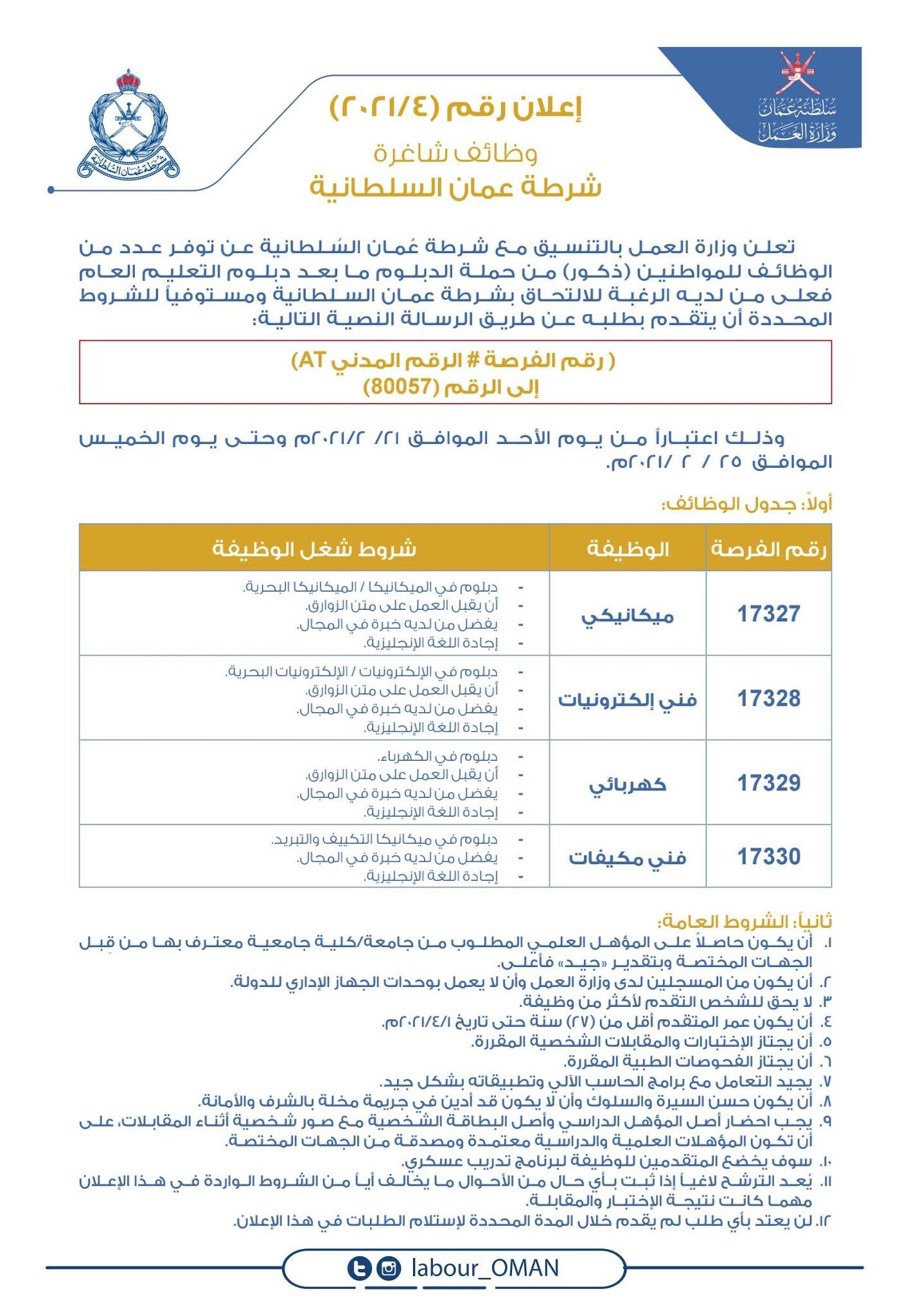 وزارة العمل   شرطة عمان السلطانية وظائف 2021
