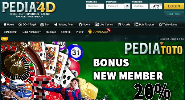 Tampilan Situs Pedia4D Terbaru