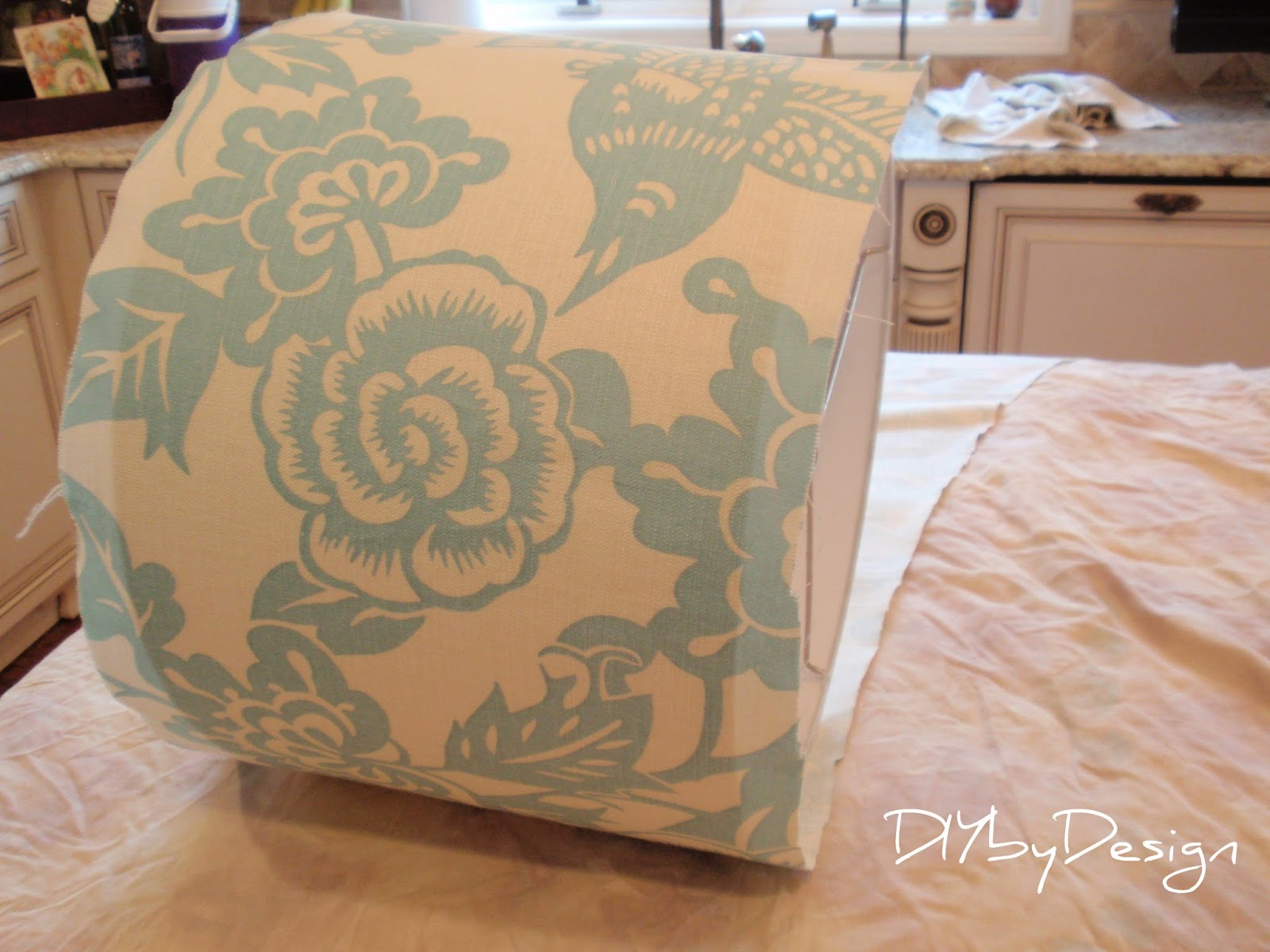 Diy Lampshade Cover Diy By Design Fabric Covered Lampshade Tutorial