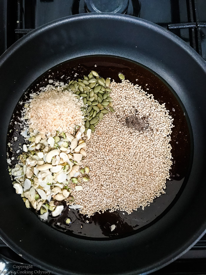 seeds and nuts in a pan