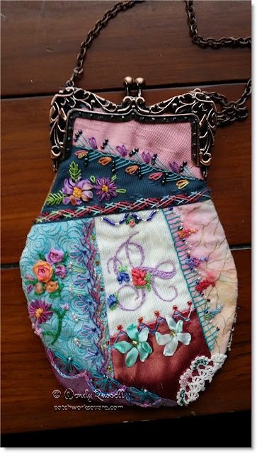 Crazy quilt purse image © W. Russell, patchworksquare.com