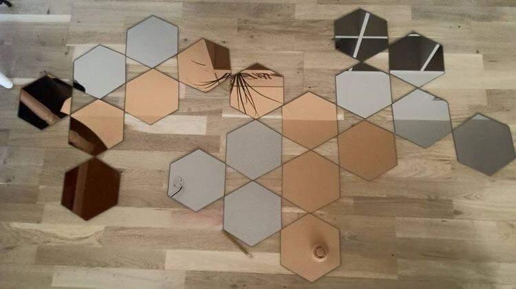 tips dekorasi, cermin, cermin besar di rumah, idea dekorasi cermin, cara susun cermin hexagons, idea susunan cermin hexagons, idea cermin, dekorasi menggunakan cermin, cermin, kaca, rumah cantik, idea rumah cantik, idea cermin,