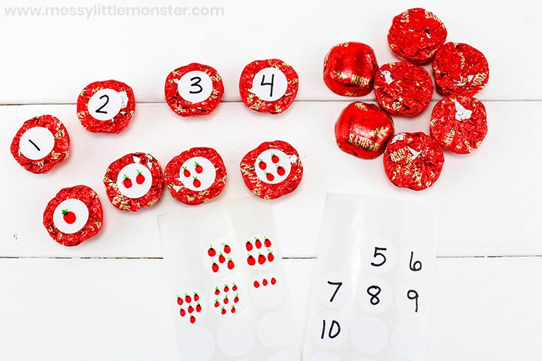 apple counting activity for kids