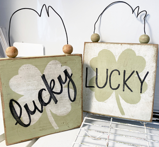 lucky distressed signs with beaded hanger