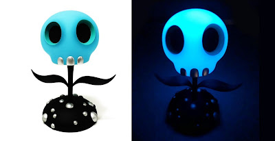 Designer Con 2019 Exclusive The Skull Flower Blue Glow in the Dark Edition Designer Art Figure by Tara McPherson x ToyQube