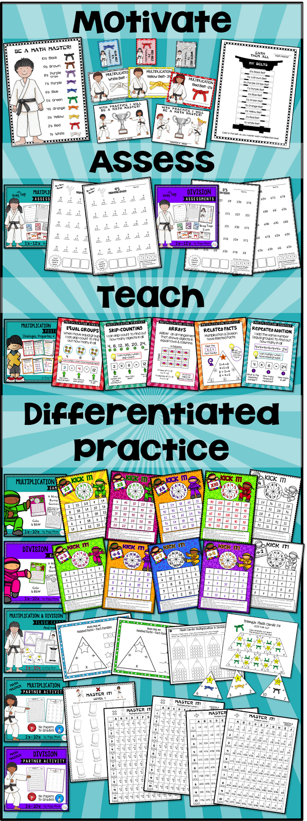 This bundle has everything you need to increase your students' math fact fluency in multiplication and division!  • Tools and Activities for you to: ★ Teach ★ Assess to differentiate ★ Independent Practice ★ Partner Practice ★ Group Practice ★ Homework Practice